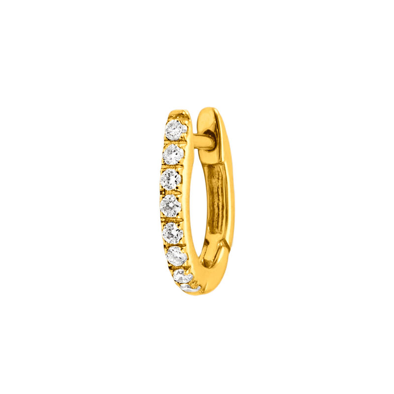 Gold diamonds mini hoop earring 0.08 ct, J00597-02-NEW-H, hi-res