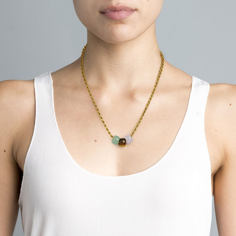 Gold plated silver three stone necklace, J04760-02-GAV-AM-TE, hi-res