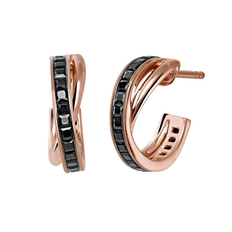 Small rose gold plated combined hoop earrings, J03663-03-BSN, hi-res