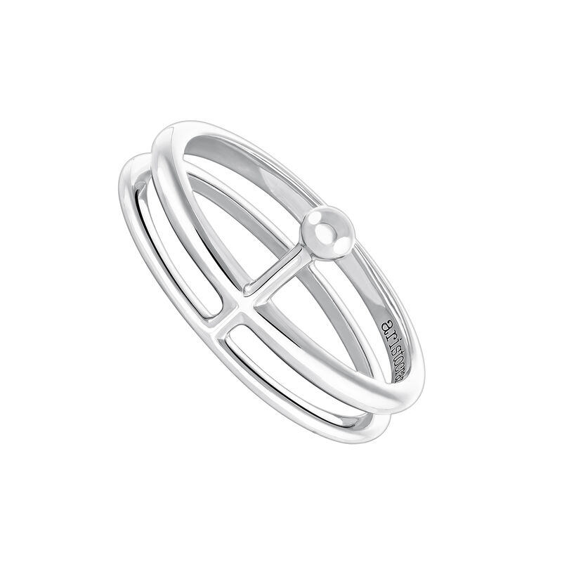 Silver double ring with sphere, J04021-01, hi-res
