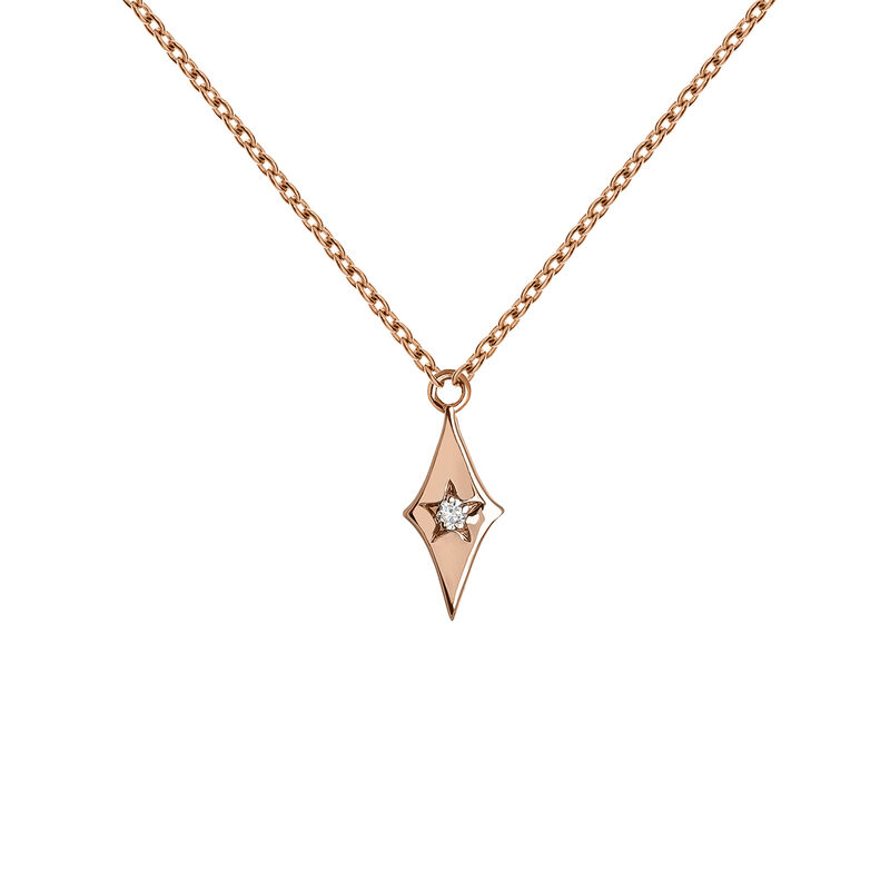 Collier étoile diamant or rose 0,01 ct, J03886-03, hi-res