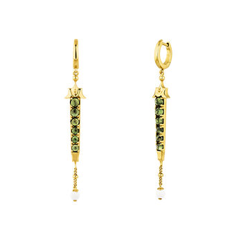 Green gold plated turmaline creole earrings, J04280-02-GTU-WAV, hi-res