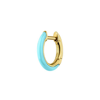 Gold plated silver turquoise enamel earring, J04129-02-TURENA-H, hi-res