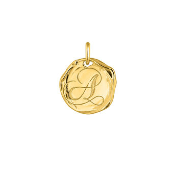 Colgante medalla inicial A plata recubierta oro, J04641-02-A, hi-res