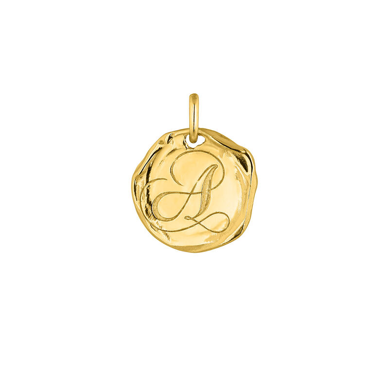 Gold plated Initial A medal pendant
