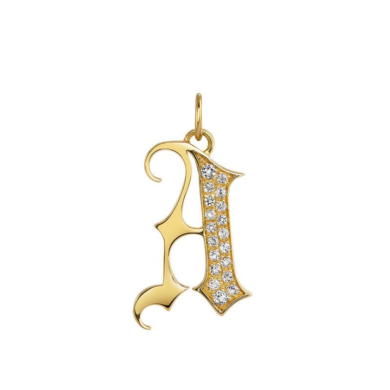 Gothic letter A pendant gold topaz, J04015-02-WT-A, hi-res