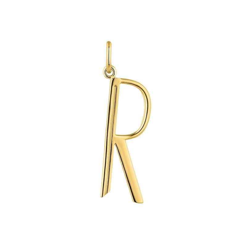 Initiale R grand argent plaqué or, J04642-02-R, hi-res