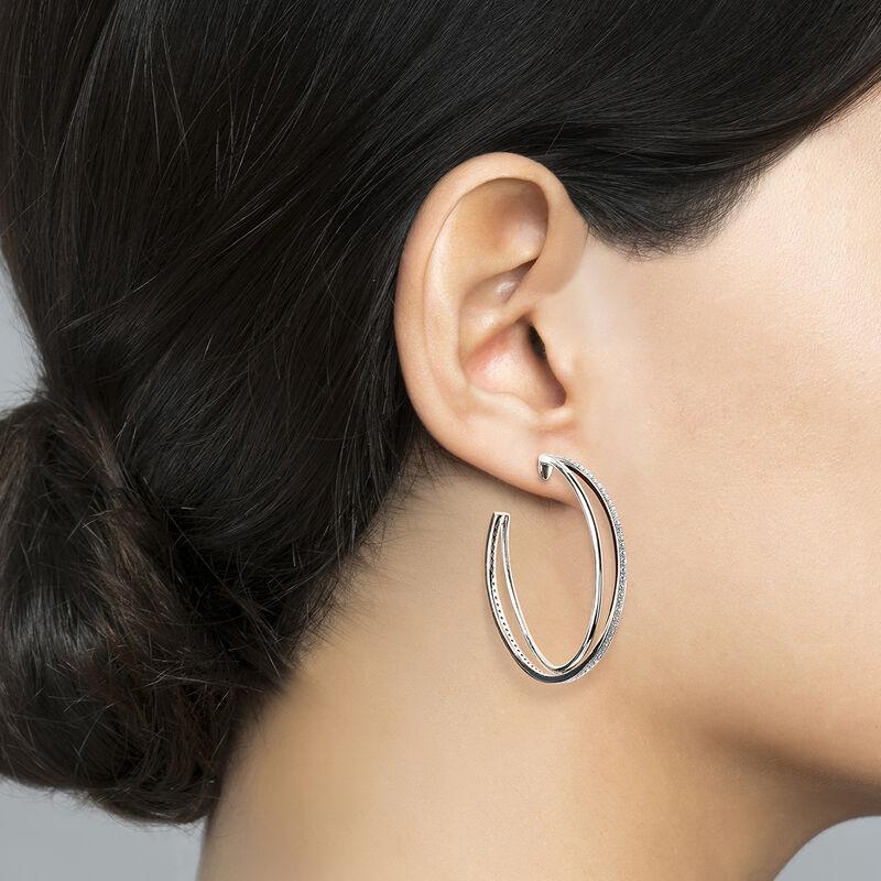 Boucles d'oreilles grandes créoles multiples argent, J03665-01-WT, hi-res