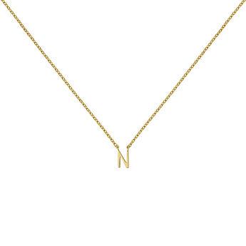Gold Initial N necklace, J04382-02-N, hi-res