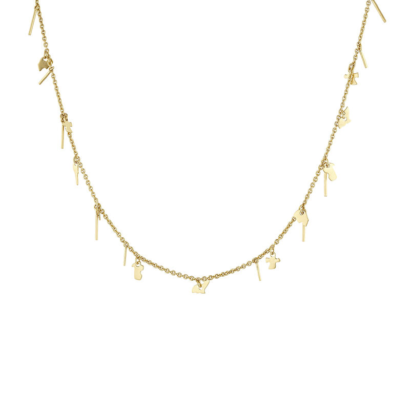 Gold plated motifs necklace, J04551-02, hi-res