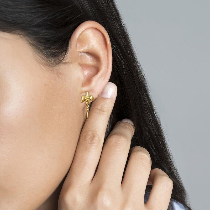 Boucles d'oreilles motif oiseau argent plaqué or , J04558-02, hi-res