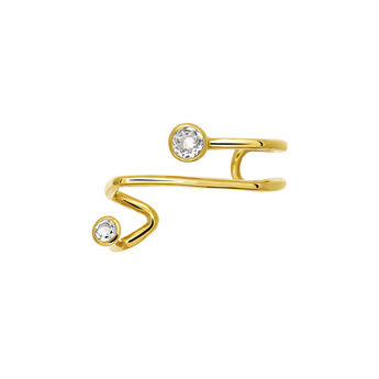 Gold plated cartilage piercing with topazes, J03678-02-WT, hi-res