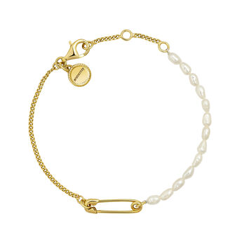 Gold plated pearls safety pin bracelet, J04570-02-WP, hi-res