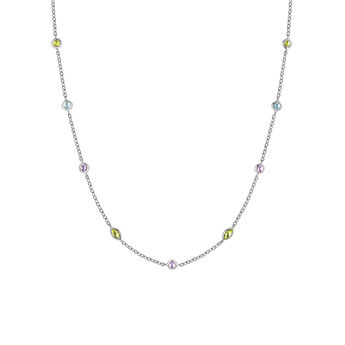 Silver gemstone mix necklace, J03765-01-AMPESB, hi-res