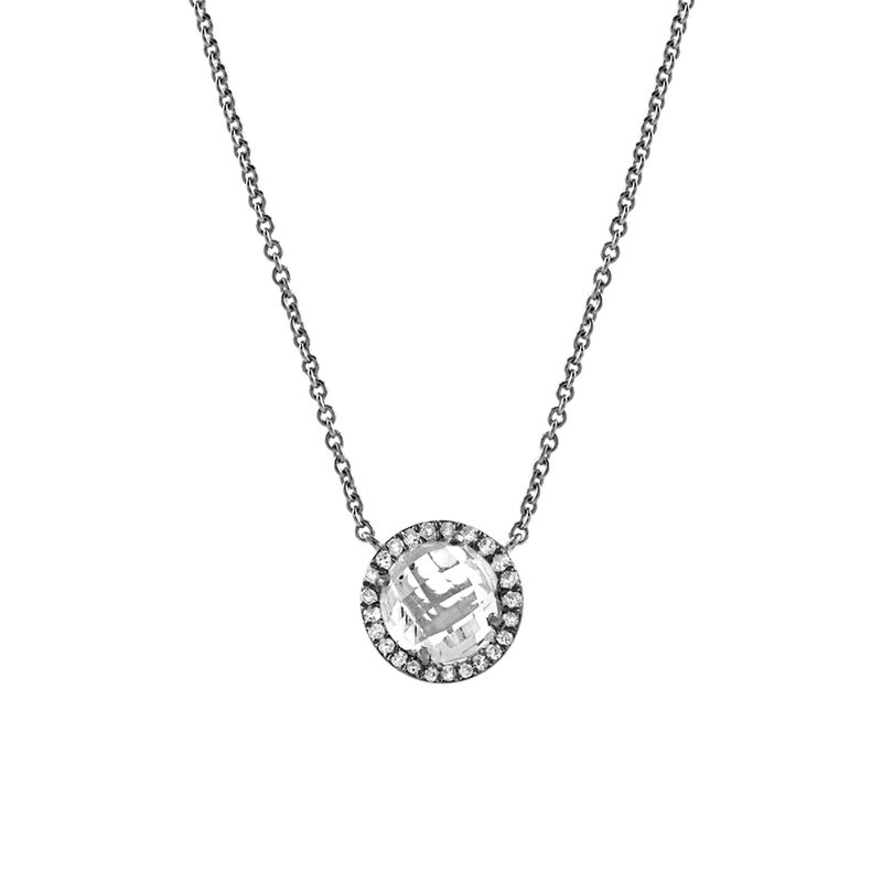 Silver necklace with diamonds and topaz, J00824-01-WT, hi-res