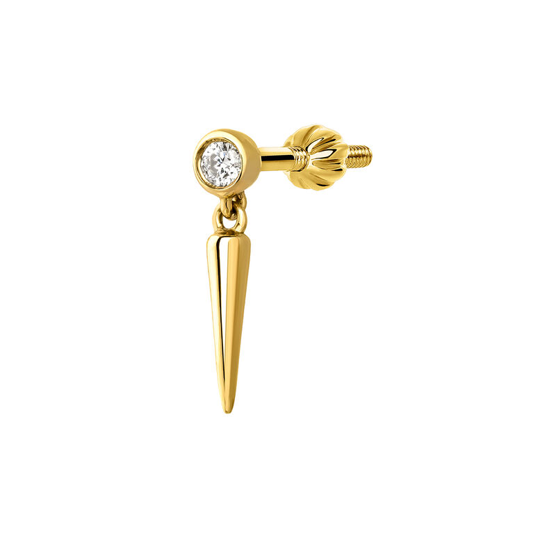 Gold spike diamond earring piercing 0.02 ct, J03876-02-H, hi-res