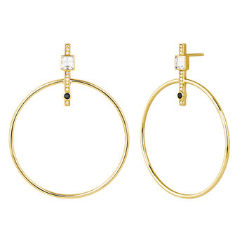 Gold plated hoop earrings with spinels  and topaz , J04092-02-WT-BSN, hi-res