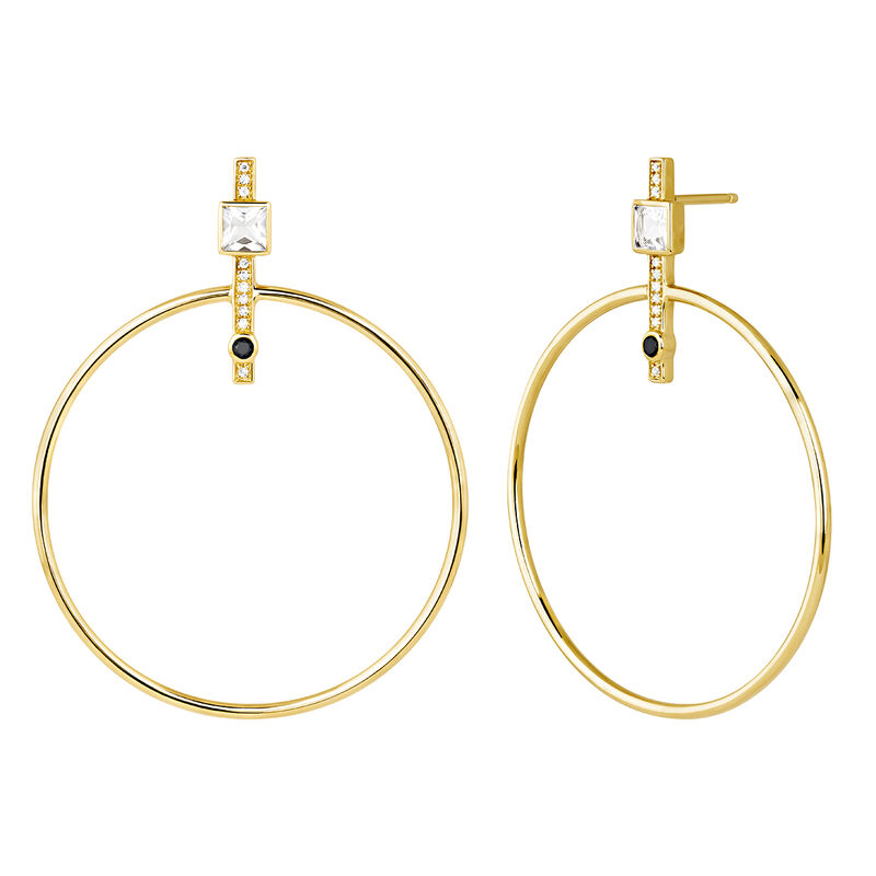 Gold plated hoop earrings with spinels  and topaz, J04092-02-WT-BSN, hi-res