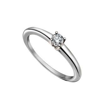 Bague solitaire simple diamant  0,20 ct or blanc, J00919-01-20-GVS, hi-res