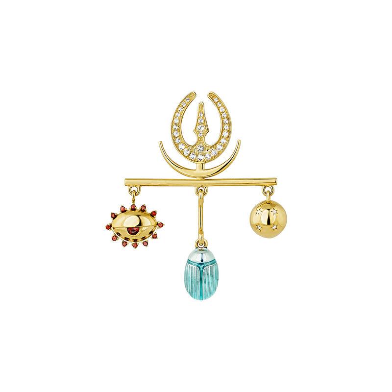 Gold plated statement motifs earrings, J04292-02-WTGAR-EN, hi-res