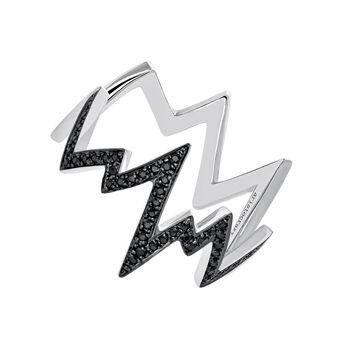 Silver lightning-bolt ring with spinels, J03628-01-BSN, hi-res