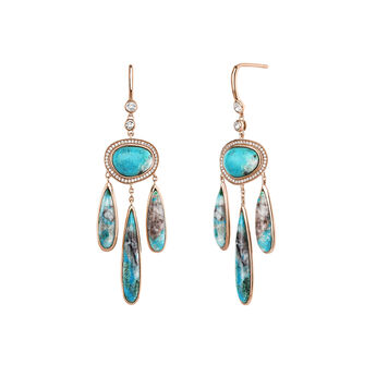 Large pink gold plated pendant chrysocollas boho earrings, J04119-03-CH-WT, hi-res