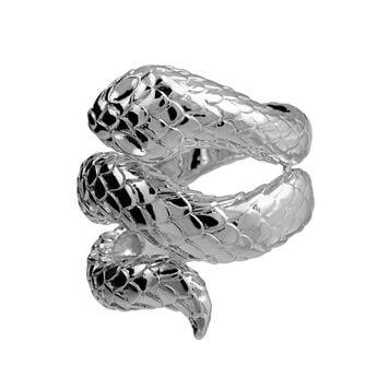 Bague serpent ouverte argent, J00305-01, hi-res