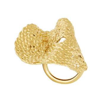Gold plated geometric wicker ring, J04413-02, hi-res