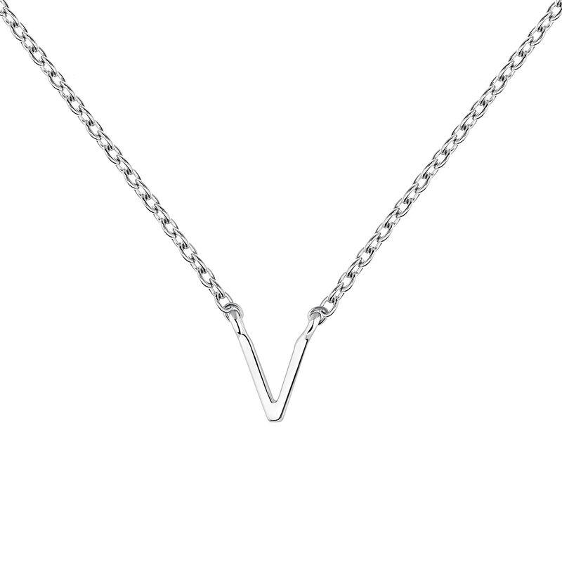 White gold Initial V necklace, J04382-01-V, hi-res