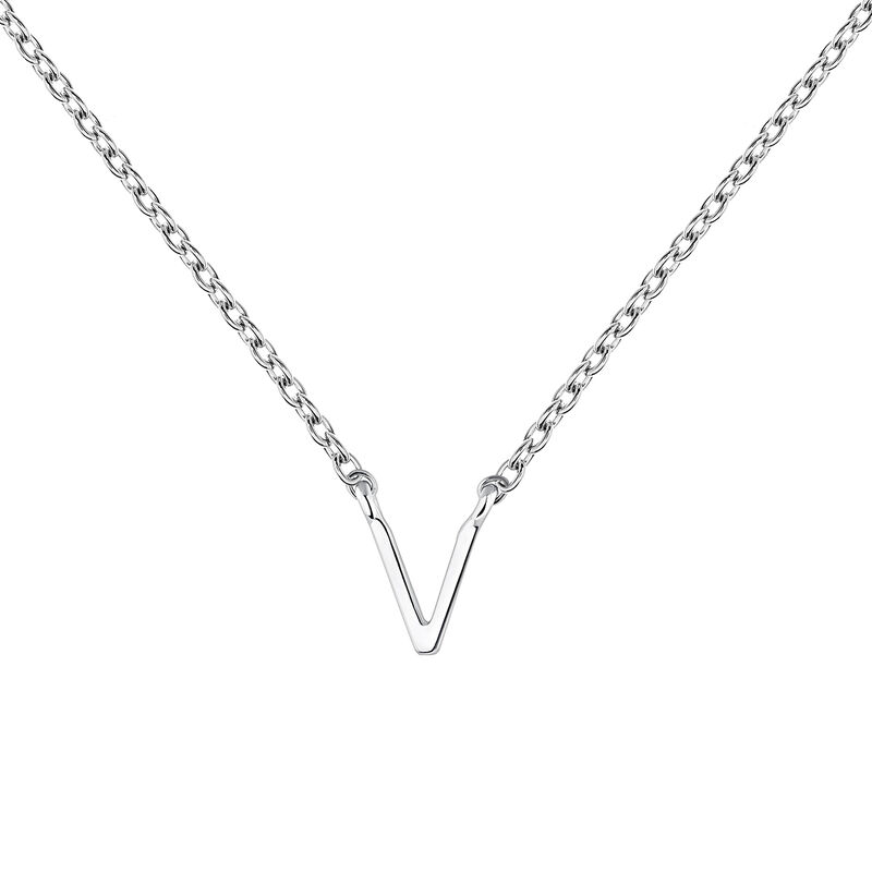 Collar inicial V oro blanco9 kt, J04382-01-V, hi-res
