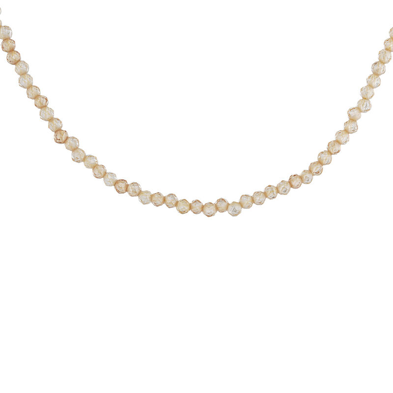 Gold plated ball chain zircon necklace, J04618-02-ZI, hi-res