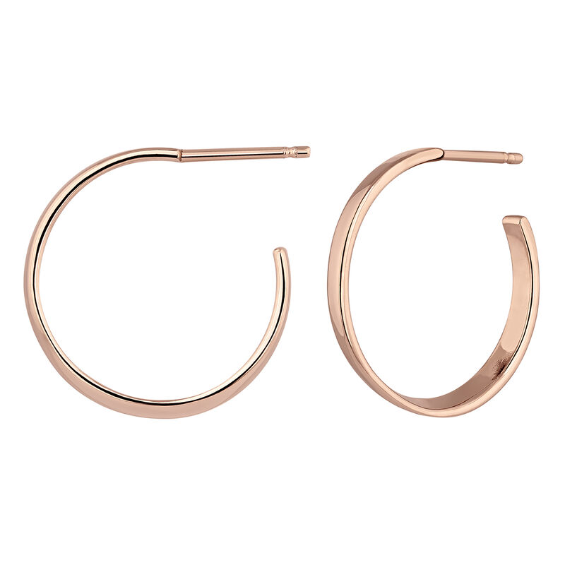 Medium flat hoop earrings rose gold, J04213-03, hi-res