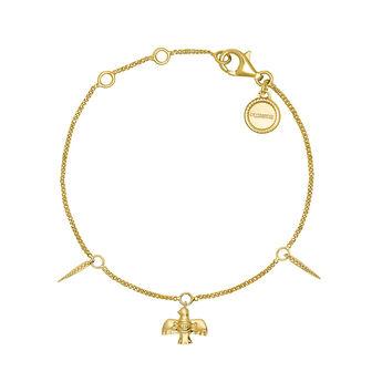 Bracelet oiseau argent plaqué or, J04557-02, hi-res