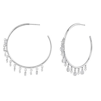 Silver hoop necklace motif earrings, J03994-01-WT, hi-res