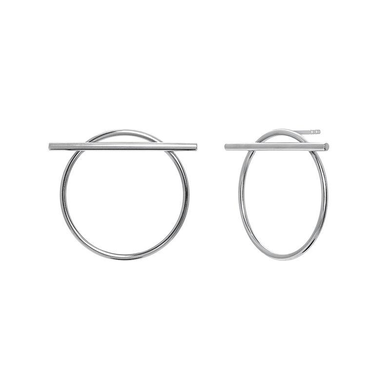 Silver hoop earrings with bar, J03654-01, hi-res
