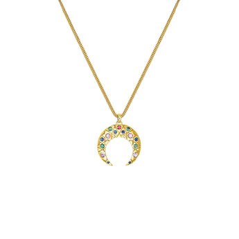 Gold horseshoe necklace with stones, J03574-02-SA, hi-res
