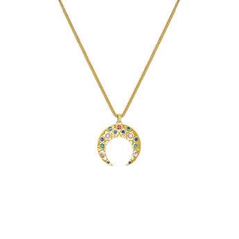 Colgante herradura pequeña con piedras oro, J03574-02-SA, hi-res