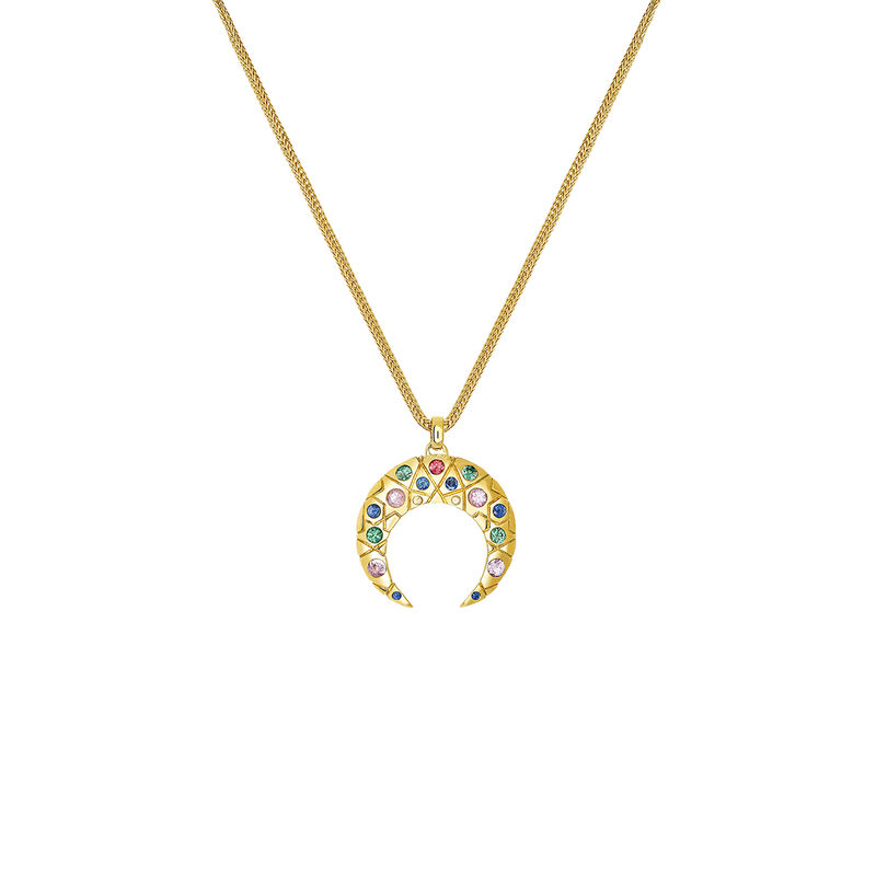 Gold horseshoe necklace with stones, YELLOWGOLDPLTD STERLING SILVER, hi-res