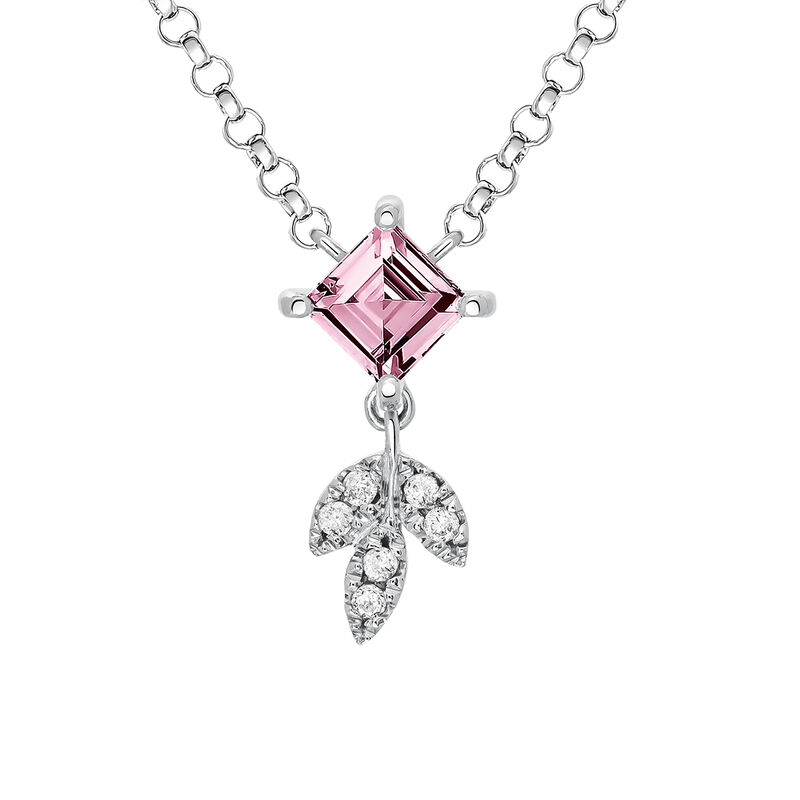 Silver Pink Tourmaline Leaf Necklace, J03717-01-PTU, hi-res