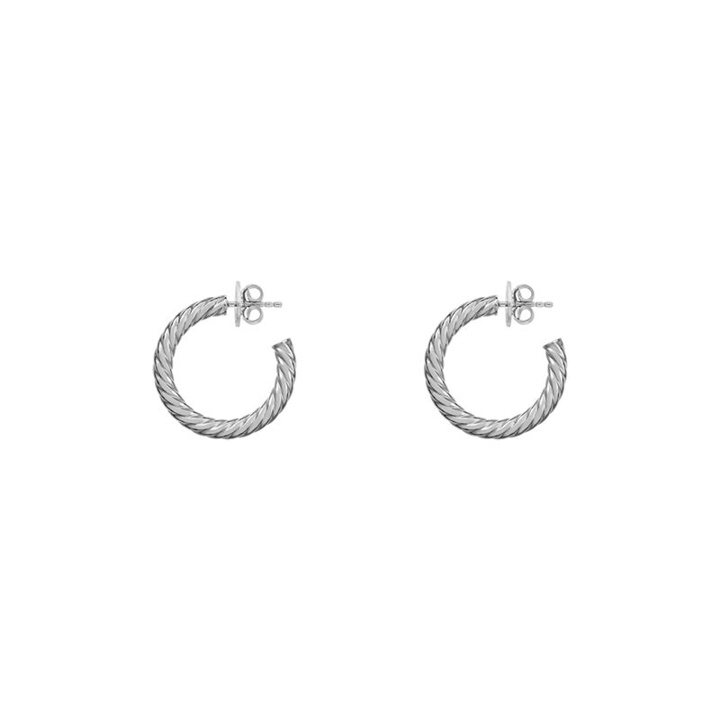 Silver Medium Cabled Hoop Earrings, J01588-01, hi-res