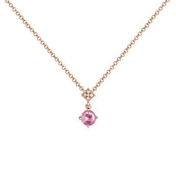 Rose-Gold Gemstone Vintage Necklace, J03801-03-PS, hi-res