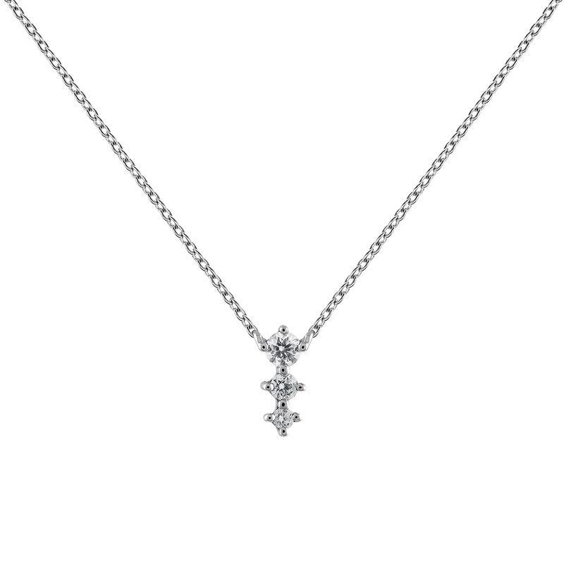 Colgante triple diamante oro blanco 0,06 ct, J03365-01, hi-res