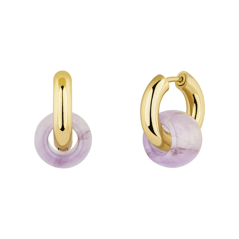 Gold plated silver amethyst earrings, J04752-02-AM, hi-res