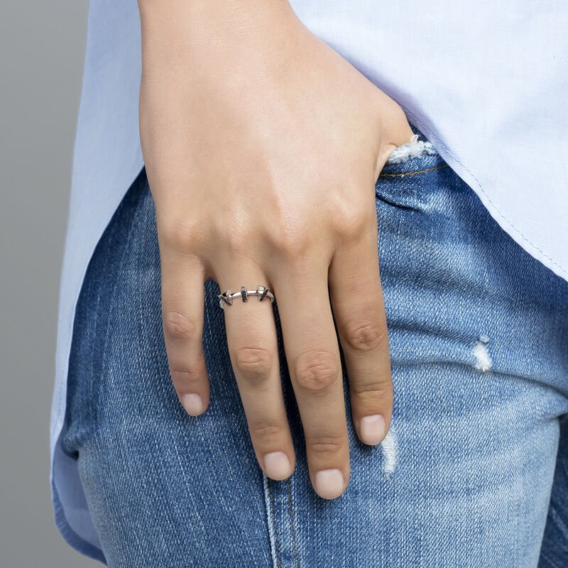 Silver triangle ring with spinels , J03968-01-BSN, hi-res