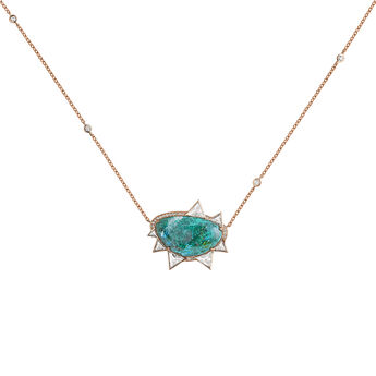Large pink gold plated chrysocolla boho necklace, J04114-03-CH-WT, hi-res