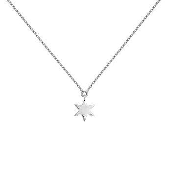 Colgante estrella oro blanco 9 kt, J03863-01, hi-res