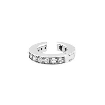 Silver cartilage piercing with topaz, J03286-01-WT, hi-res