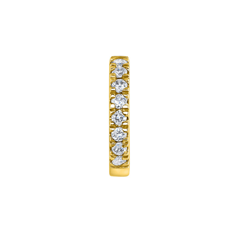 Mini boucle d'oreille créole diamants or jaune 0,03 ct, J04152-02-H, hi-res