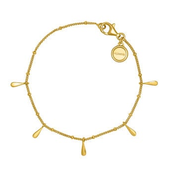 Gold plated silver drop motifs bracelet, J04595-02, hi-res