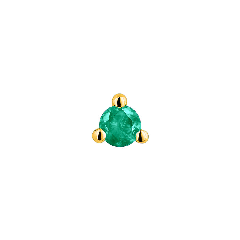 Mini gold emerald earring, J04345-02-EM-H, hi-res